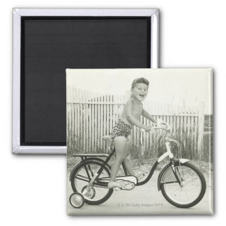 Girl Riding Bicycle Square Magnet