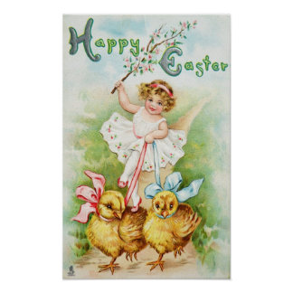 Girl Riding Easter Chicks Poster