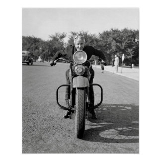 Girl Riding Motorcycle, 1937. Vintage Photo Poster