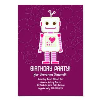 Girl Robot Birthday Invitations
