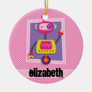 Girl Robot; Pink & White Stripes Christmas Ornament