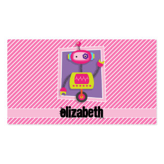 Girl Robot; Pink & White Stripes Pack Of Standard Business Cards