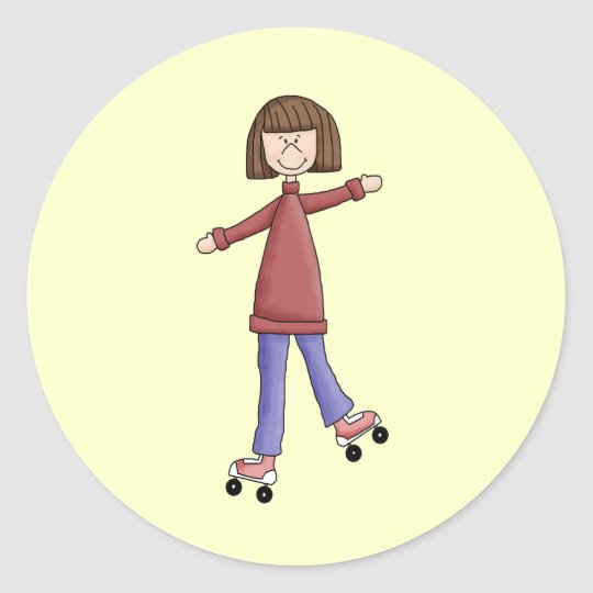 Girl Rollerskating Classic Round Sticker
