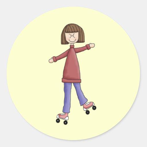 Girl Rollerskating Round Sticker