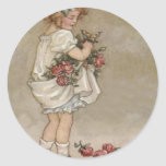 Girl Rose Butterfly Birthday Round Sticker