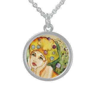 girl round pendant necklace
