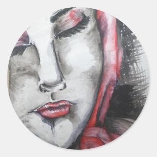 Girl Round Sticker