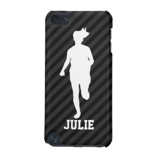 Girl Running; Black & Dark Gray Stripes iPod Touch (5th Generation) Covers