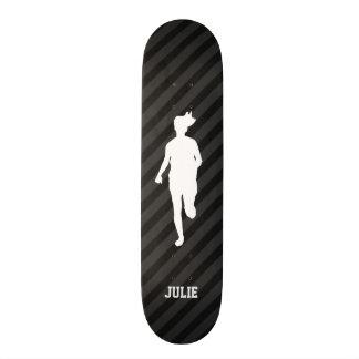 Girl Running; Black & Dark Gray Stripes Custom Skateboard
