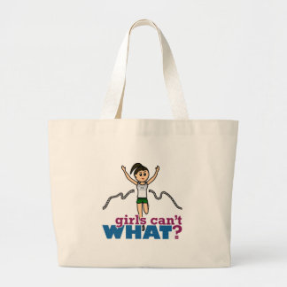 Girl Running in Green Large Tote Bag