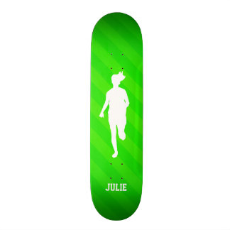 Girl Running; Neon Green Stripes 21.3 Cm Mini Skateboard Deck