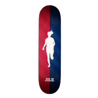 Girl Running; Red, White, and Blue 18.1 Cm Old School Skateboard Deck