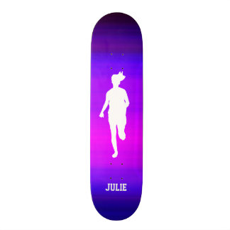 Girl Running; Vibrant Violet Blue and Magenta Custom Skate Board