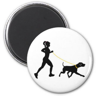 Girl running with her dog magnet