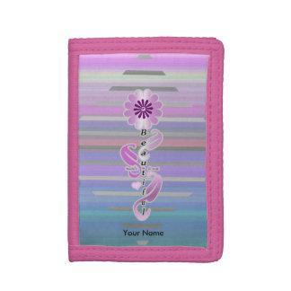 """Girl's """"Beautiful Self-Love Diamond Flower""""wallet Tri-fold Wallet"""
