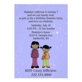 Girl s Custom Slumber Party Birthday Invitation