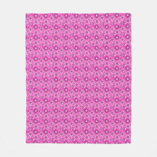 Girl's Fun Cute Pink Flowers & Shapes Pattern Fleece Blanket