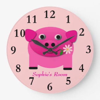 Girl s Pink Pig Wall Clock Personalised With Name