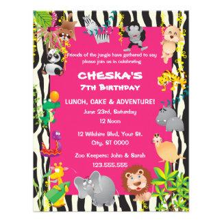 Girl s Safari Theme - Kid s Birthday Party Invites