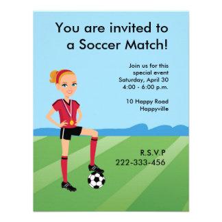 Girl s Soccer Invitation with Illustration