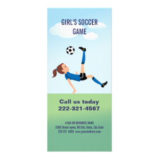 Girl s Soccer Player Personalized Full Color Rack Card