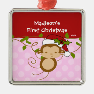 Girl Santa Monkey Baby's First Christmas Ornament
