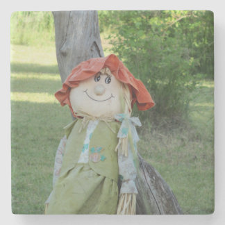 Girl Scarecrow in the Country Leaning on a Tree Stone Beverage Coaster