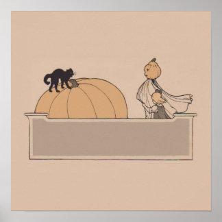 Girl Scarecrow Pumpkin Jack O Lantern Black Cat Poster