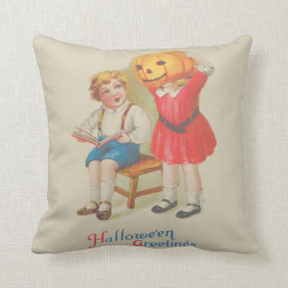 Girl Scaring Boy Book Jack O' Lantern Cushion