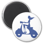 Girl Scooter blue 6 Cm Round Magnet