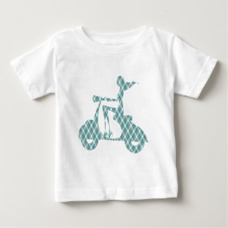 girl scooter blue plaid baby T-Shirt
