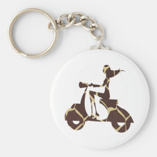 girl scooter dark giraffe basic round button key ring