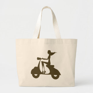 Girl Scooter od khaki Jumbo Tote Bag