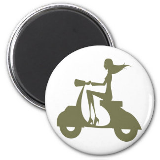 Girl Scooter od light 6 Cm Round Magnet