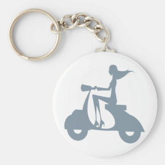 Girl Scooter periwinkle Basic Round Button Key Ring