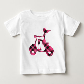 girl scooter pink black plaid baby T-Shirt