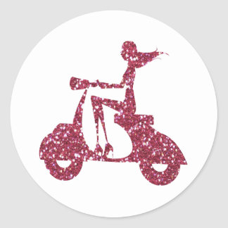 girl scooter pink glitter classic round sticker