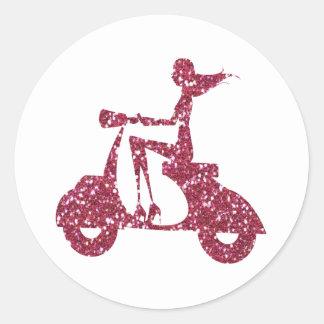 girl scooter pink glitter round sticker