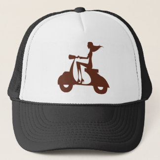 Girl Scooter red brown Trucker Hat
