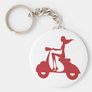 Girl Scooter red Key Ring