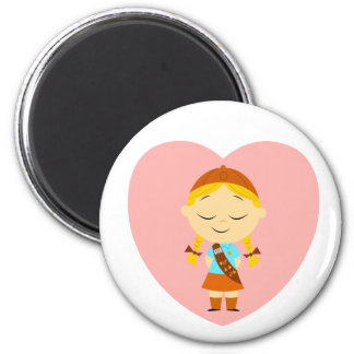 Girl Scout Brownie - Blonde 6 Cm Round Magnet