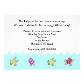 Girl Sea Turtles 4th Birthday Party Invitation