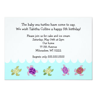 Girl Sea Turtles 5th Birthday Party Invitation