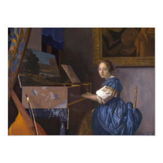 """Girl Seated at the Piano 5.5"""" X 7.5"""" Invitation Card"""
