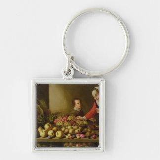 Girl selling grapes key ring
