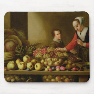 Girl selling grapes mouse mat