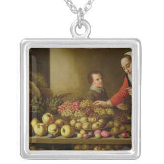 Girl selling grapes silver plated necklace