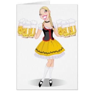 Girl Serving Beer Greeting Cards