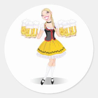 Girl Serving Beer Stickers