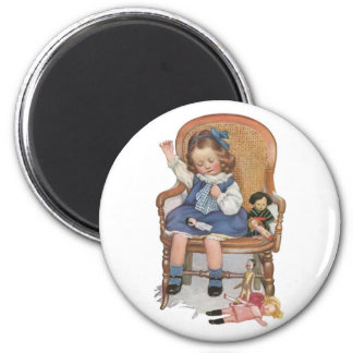 Girl Sewing Dollies Magnet